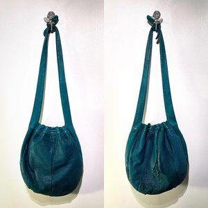 Dark Teal Leather Saddle River Crossbody Bag